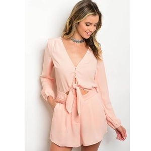 Other - Light Pink Romper - Open and Tie Detail -